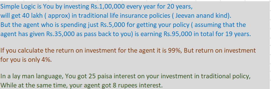 25 paisa interest to the policyholder and 8 rupees interest to the life insurance agent