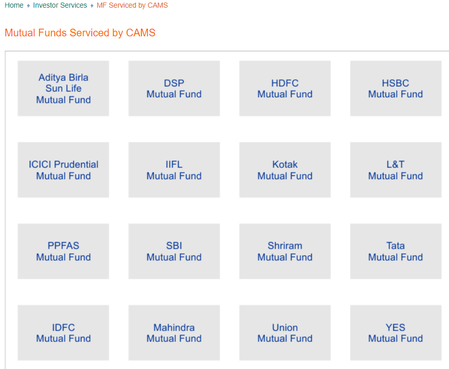 Mutual Funds serviced by Cams